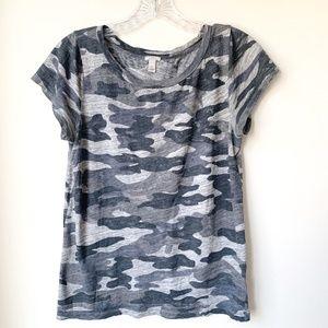 J Crew Cotton T-shirt Camo Gray Heather Size Small